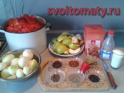 Ингредиенты для приготовления томатного кетчупа