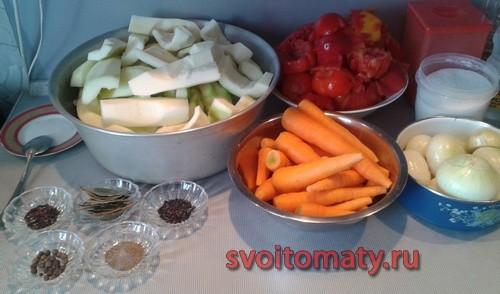 Ингредиенты для приготовления кабачковой икры